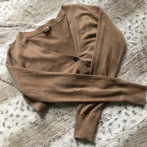 J. Crew Brown 100% Merino Wool Buttoned Cardigan